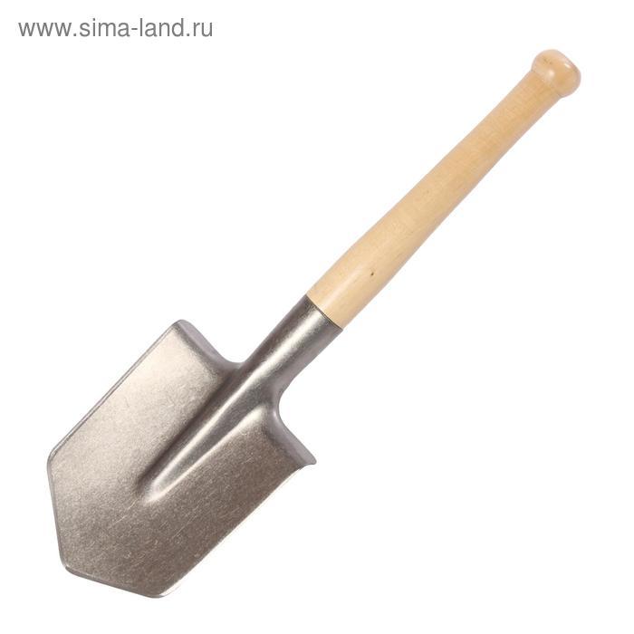 Лопата автомобильная, титан ВСМПО, деревянный черенок, в чехле