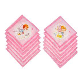 Платки носовые детские Этель 20х20 см, (набор 12 шт.) Феечки, рисунок МИКС, 100% хлопок