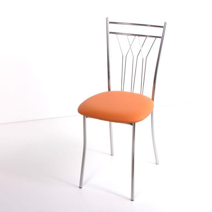 Стул на металлокаркасе Премьер СТ хром люкс/оранжевый