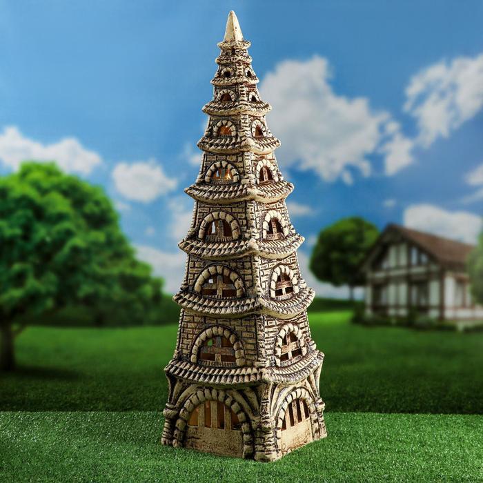 """Садовый светильник """"Пагода"""", шамот, 80 см, без элемента питания - фото 1696852"""