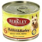 Консервы Berkley №6  для собак,  кролик с ячменем, 200г