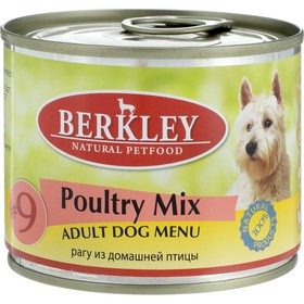 Влажный корм Berkley №9 для собак, рагу из птицы, ж/б 200 г