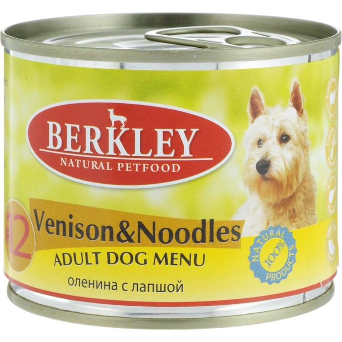 Консервы Berkley №12 для собак, оленина с лапшой, 200г