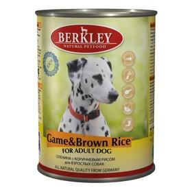 Влажный корм Berkley для собак, оленина с коричневым рисом, ж/б 400 г