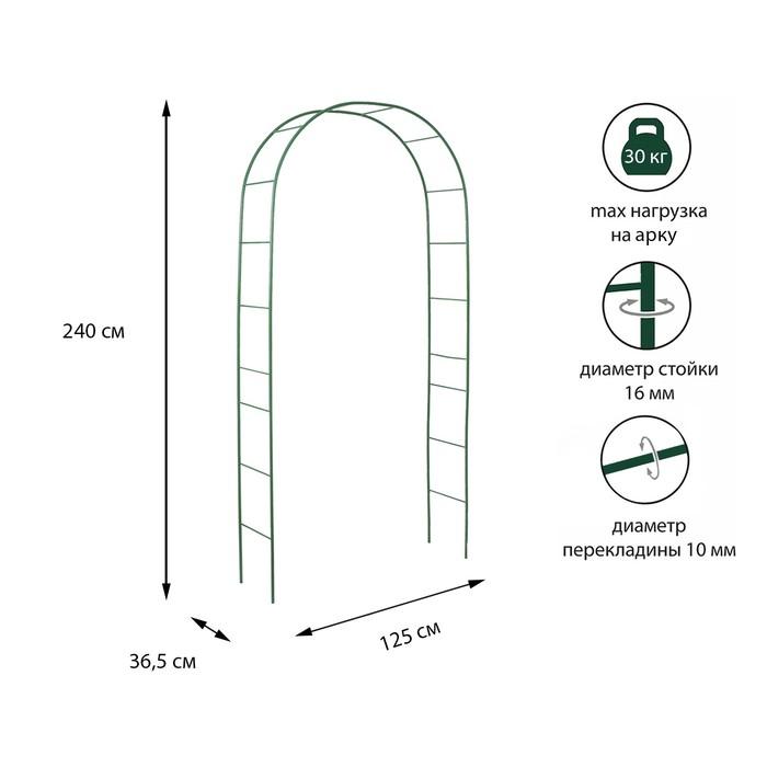 Арка садовая, разборная, 240 × 125 × 36,5 см, металл, зелёная