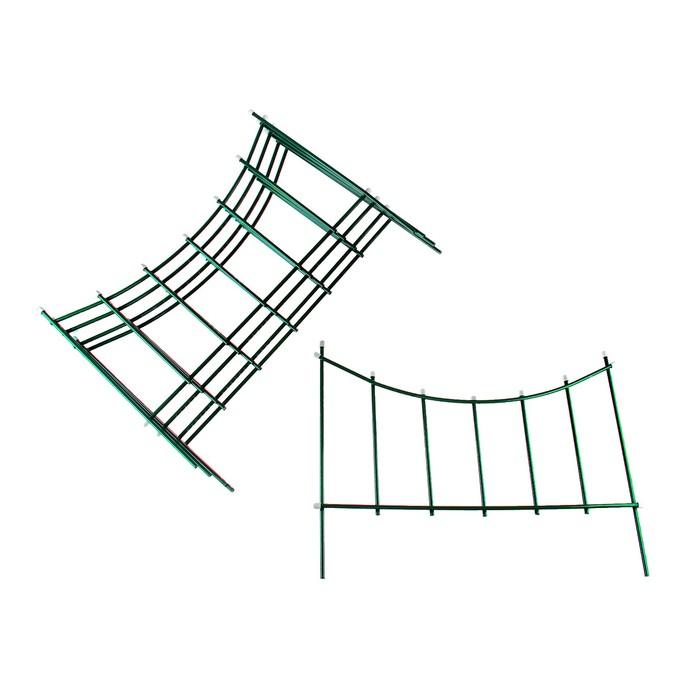 Ограждение декоративное, 60 × 410 см, 5 секций, металл, зелёное, «Горизонталь»