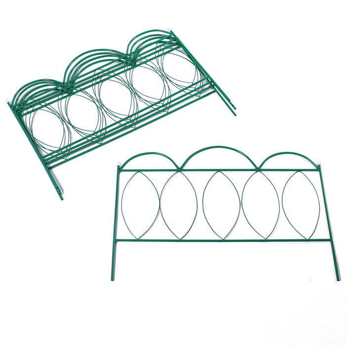 Ограждение декоративное, 60 × 415 см, 5 секций, металл, зелёное, «Классический»
