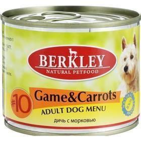 Влажный корм Berkley №10 для собак, дичь с морковью, ж/б 200 г