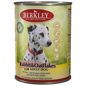 Влажный корм Berkley для собак, кролик с овсянкой, ж/б 400 г
