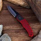 Нож перочинный лезвие drop-point 7,5см, рукоять диагональ черная с красным, волокно G10 18,5см 15