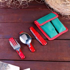 Набор туриста в чехле 5в1 рукоять металл красная с рисунком 11*13,5см