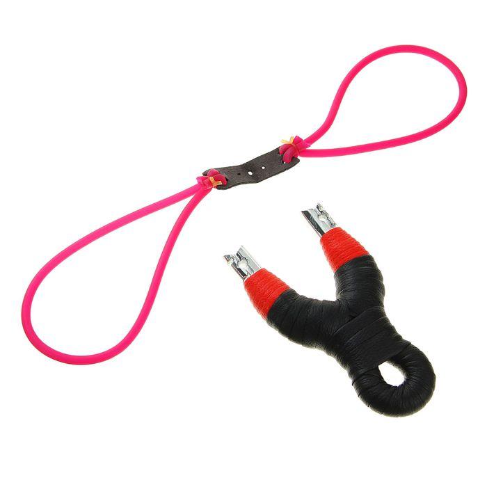 Рогатка двойной жгут, ручка обмотка чёрно-красная, 3 шарика в комплекте 9х23см