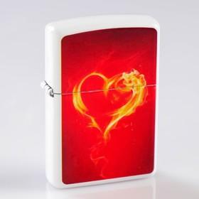 Зажигалка «Огненное сердце» в металлической коробке, кремний, бензин, 6x8 см в Донецке