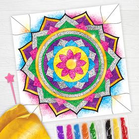 Набор для творчества. Фреска песком «Калейдоскоп желаний» + 9 цветов песка по 4 гр, блёстки, стека