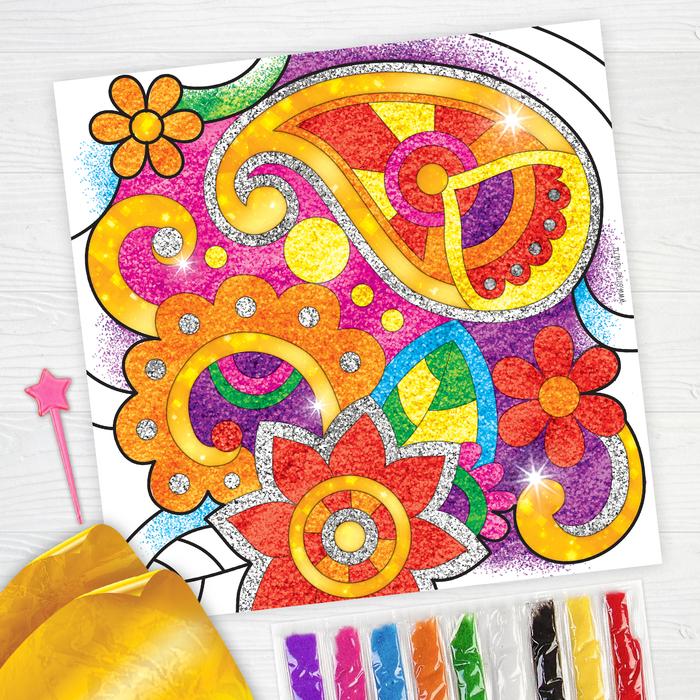 """Фреска песком """"Волшебные узоры"""" + 9 цветов песка по 4 гр, блёстки, стека"""