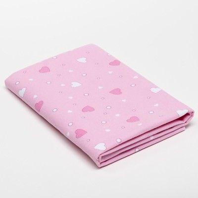 Diaper children's Pink hearts 75×120 cm, flannel, 160g/m2, 100% cotton