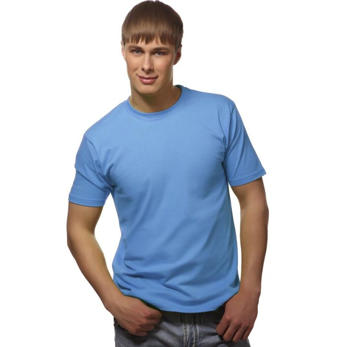 Футболка мужская StanGalant, размер 44, цвет голубой 150 г/м 02