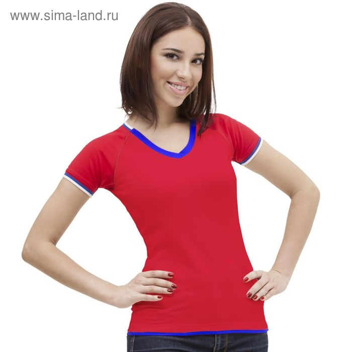 Футболка женская MoscowStyle, размер 44, цвет красный 200 г/м