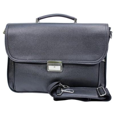 Портфель мужской на молнии, 2 отдела, 2 наружных кармана, плечевой ремень, чёрный