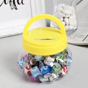 """Клейкая лента пластик в банке """"Блеск"""" (набор 40 шт) цвета МИКС 1,2 смх1 м 7,5х8,5х8,5 см"""