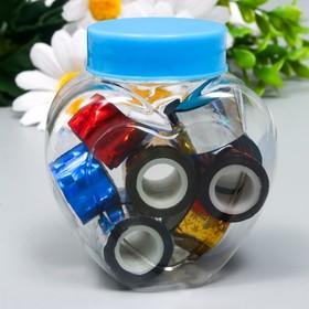 """Клейкая лента пластик в банке """"Голография"""" (набор 10 шт) цвета МИКС 1,2смх1м 6,3х5,3х3,4см"""