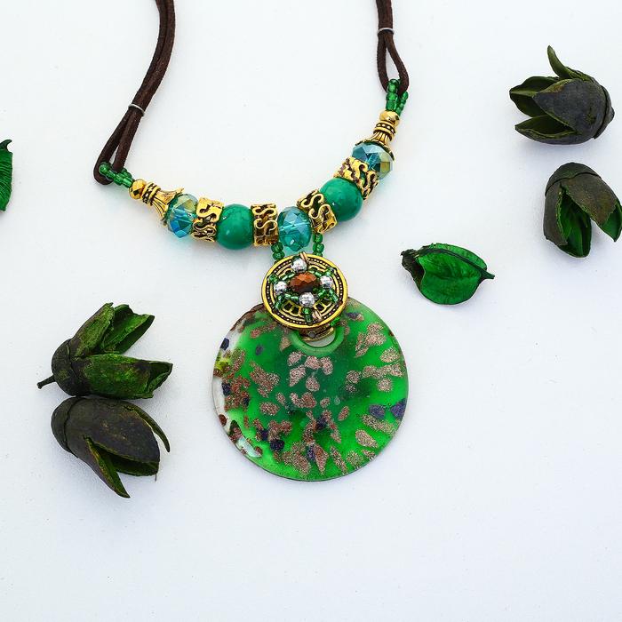 """Кулон восход """"Муранское стекло"""" круг, цвет зелёный, 45 см"""