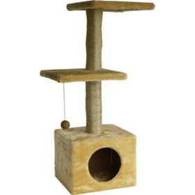 """Дом для кошек """"Две площадки"""" бежевый, 36 х 36 х 100 см"""