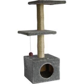 """Дом для кошек """"Две площадки"""" серый, 36 х36 х 100 см"""