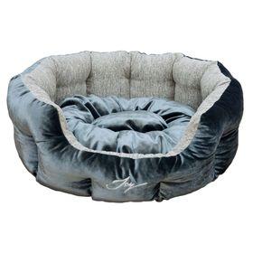 Лежанка круглая, темная, 70 х 55 х 22 см, микс