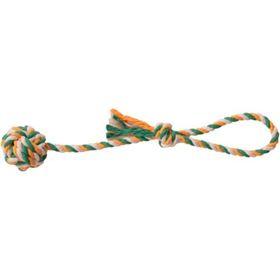 """Игрушка для собак """"Мяч плетеный"""" 7 см на веревке 45 см, текстиль"""