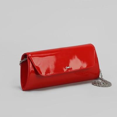 Клатч женский, 1 отдел на клапане, длинная цепочка, цвет красный