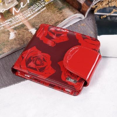 """Кошелек женский """"Розы"""", отдел для мелочи, цвет красный"""