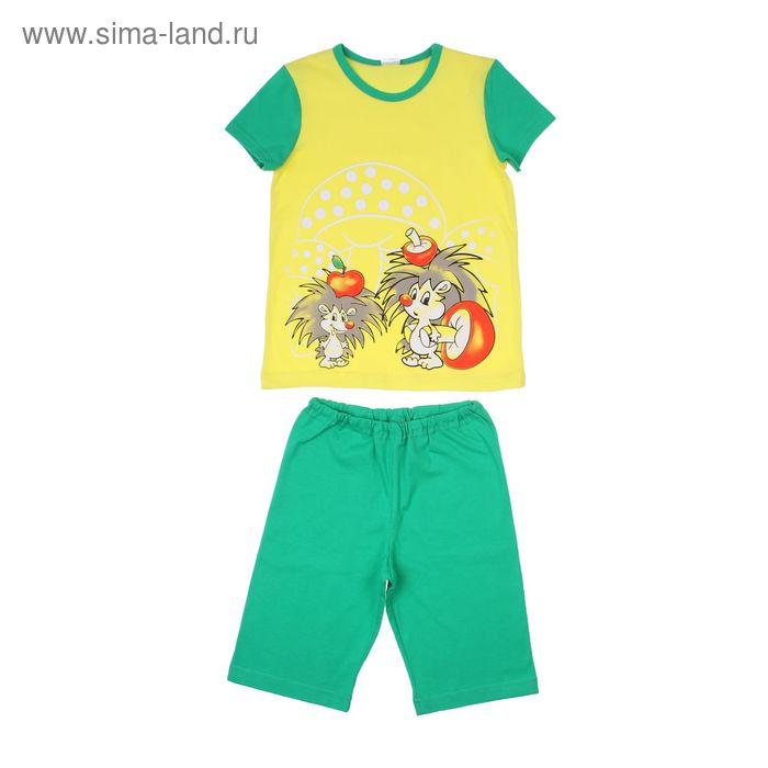 """Комплект для мальчика (футболка, шорты) """"Ежи"""", цвет зелёный Р208637, рост 98-104 (28) см"""