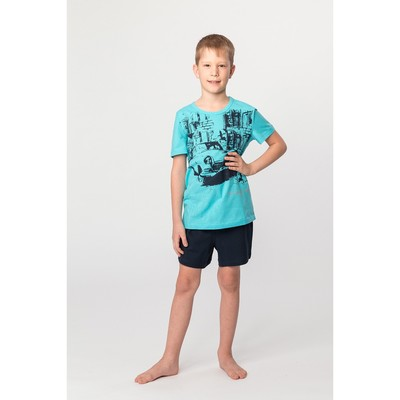 Комплект для мальчика (футболка, шорты), цвет тёмно-синий, рост 158-164 (42) см