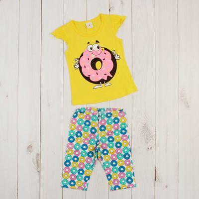 """Пижама для девочки """"Пончик"""", рост 98-104 (28) см, цвет лимонный"""