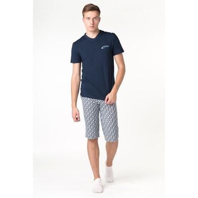 Комплект мужской (футболка, шорты), цвет синий, рост 170-176 см, размер 54