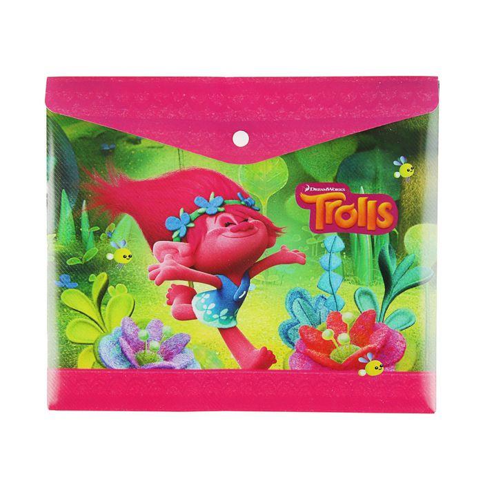 Папка-конверт на кнопке А5, пластик 180мк Trolls, для тетрадей