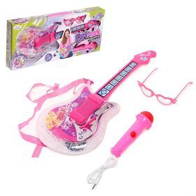 Игрушка музыкальная «Супер-гитара» с микрофоном и очками, для девочек, 6 мелодий