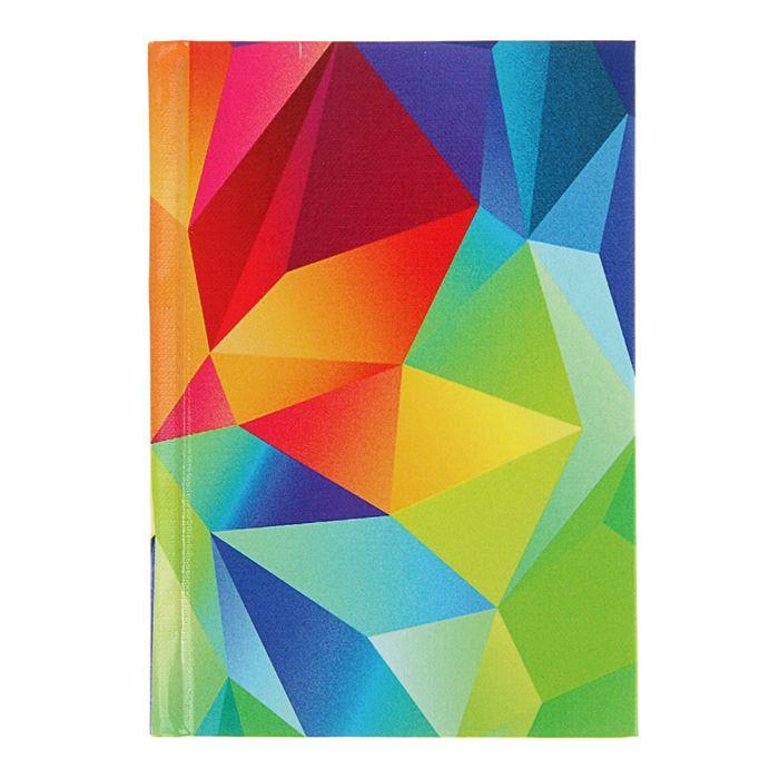 """Записная книжка твёрдая обложка А6, 96 листов """"Цветной геометрический узор"""", глянцевая ламинация"""