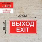 Табличка ВЫХОД/EXIT красный 200*100 мм, клеящаяся основа