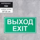 Табличка ВЫХОД/EXIT зелёный 200*100 мм, клеящаяся основа