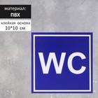 """Табличка ПВХ, Туалет """"WC"""" синий 100*100 мм, клеящаяся основа"""