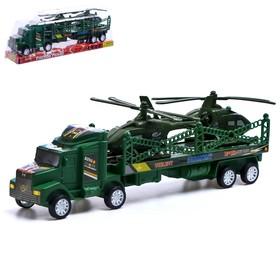 Грузовик инерционный «Военный автовоз», с 2 вертолетами