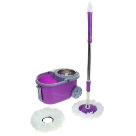 Набор для уборки: швабра, ведро на колёсах с металлической центрифугой 14 л, запасная насадка из микрофибры, дозатор, цвет МИКС