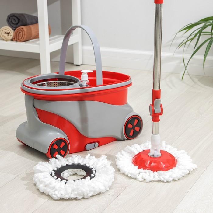 Набор для уборки: швабра, ведро на колесах с металлической центрифугой, запасная насадка