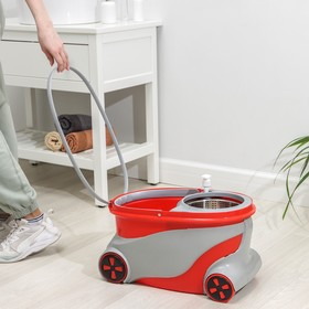 Набор для уборки: ведро на колёсиках с металлической центрифугой 15 л, швабра, запасная насадка из микрофибры, дозатор, цвет МИКС - фото 4644000
