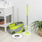 Набор для уборки: ведро на колёсиках с металлической центрифугой 15 л, швабра, запасная насадка из микрофибры, дозатор, цвет МИКС - фото 4644001