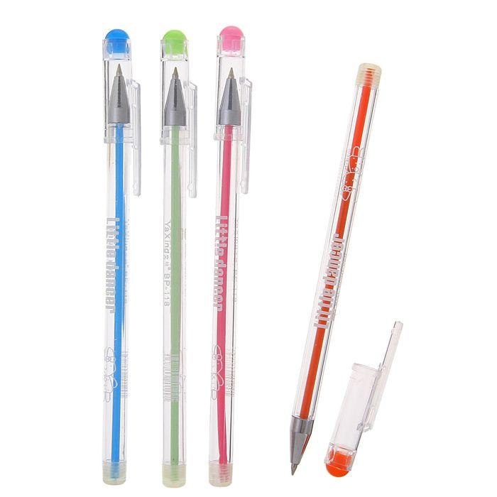 Ручка шариковая 0,38 мм стержень синий, игольчатый пишущий узел, МИКС