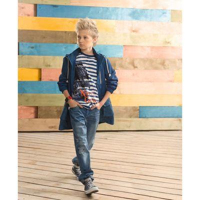 Брюки для мальчиков, рост 140 см, цвет голубой