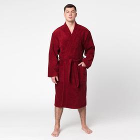 """Халат махровый """"Экономь и Я"""" мужской размер 52-54 бордо, 340 г/м2, хл. 100% с AIRO"""